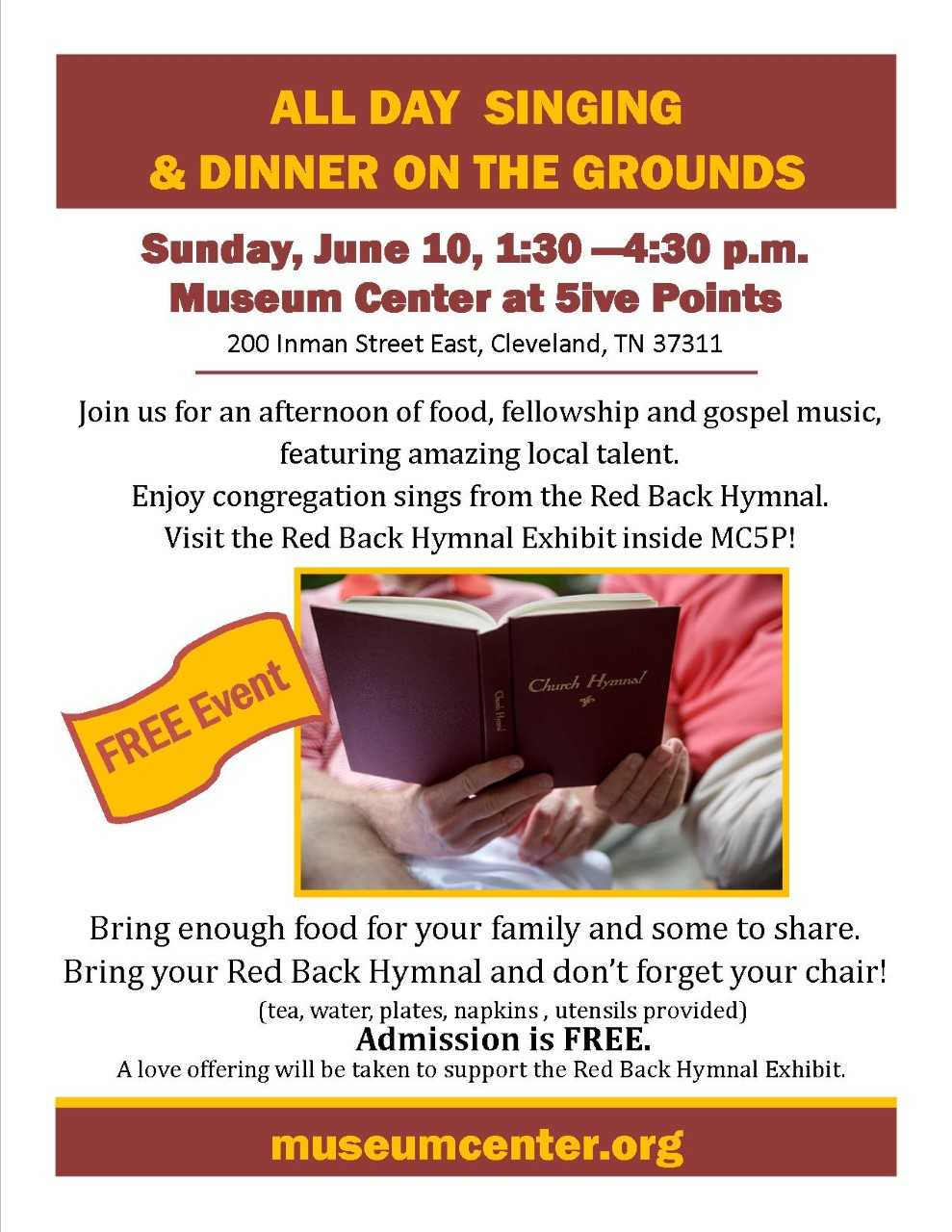 All Day Singing & Dinner on the Grounds - Visit Cleveland TN